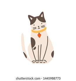 Funny adorable spotted cat isolated on white background. Cute funny domestic animal or pet. Adorable sitting kitty or pussycat with chocker. Colorful vector illustration in flat cartoon style.