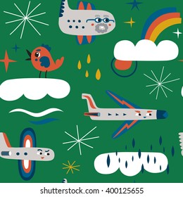 Funny aircrafts are flying in the clouds. Colorful seamless vector pattern