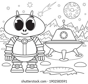 Funny alien coloring book for kids