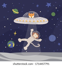 Funny alien fox in UFO with ray of light from spaceship kidnapping monkey astronaut from Moon. Outer space with stars and planets background. Cute isolated vector illustration in flat style.