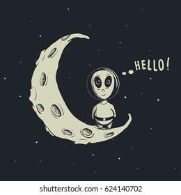 Funny alien-astronaut standing on crescent moon.Childish vector illustration