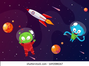 Funny aliens in outer space. Vector illustration in flat style.