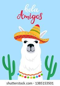 Funny alpaca in a Mexican sombrero. Hola Amigos hand drawn lettering