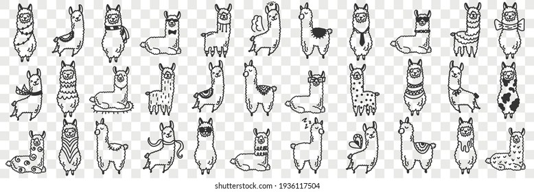 Funny alpacas animals doodle set
