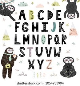 Funny alphabet with cute sloths. Abc for children. Vector illustration