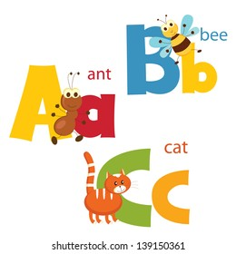 Funny alphabet. Letters A, B, C