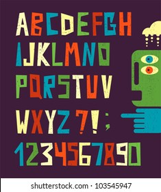 Funny alphabet letters with numbers in retro style. Cool vector illustration.