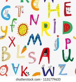 Funny alphabet seamless pattern for kids, cute deisgn. Vector graphic illustration