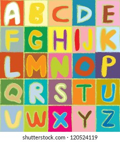 Funny alphabet vector design
