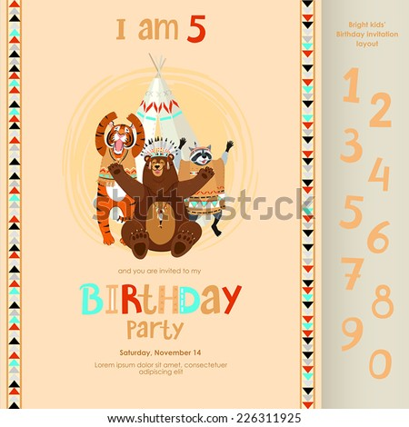 funny american indian party invitation layout stock vector royalty