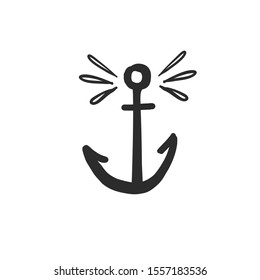 Funny anchor icon. Black doodle on white background. Textile design texture. Vector line sketch.