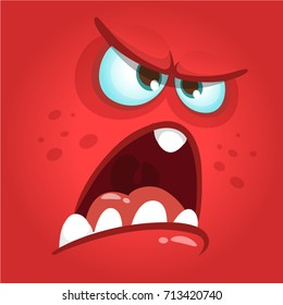 Funny angry cartoon monster face. Prints design for t-shirts, logo, emblem or children party decoration