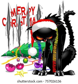 """Funny and angry Evil Cat with Santa Beanie, still furious after distroying the Christmas Tree and ripped the """"Merry Christmas"""" wall paper."""