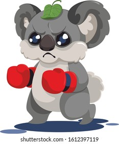 Funny angry koala in boxing tights