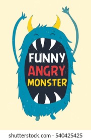 funny angry monster..T-shirt graphics for kids vector illustration