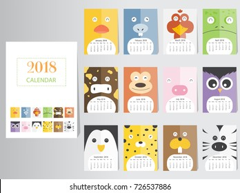 Funny animal calendar 2018 design,The year of the dog monthly cards templates,Set of 12 month,Monthly kids,Vector illustrations.