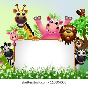 funny animal cartoon with blank sign and tropical forest background