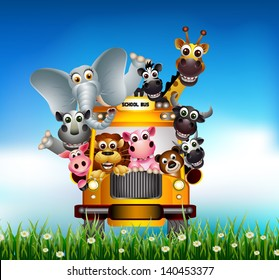 funny animal cartoon on yellow car