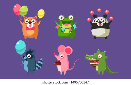 Funny Animal Characters Having Fun at Birthday Party Set, Cute Stickers with Baby Animals, Dog, Frog, Panda Bear, Mouse, Raccoon, Crocodile Vector Illustration