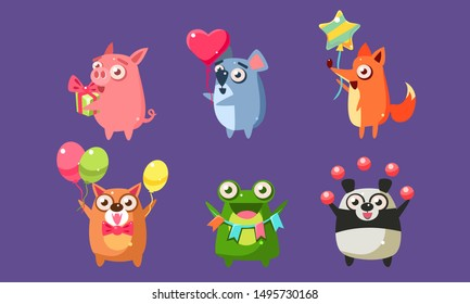 Funny Animal Characters Having Fun at Birthday Party Set, Cute Stickers with Baby Animals, Pig, Mouse, Fox, Dog, Frog, Panda Bear Vector Illustration,