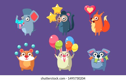 Funny Animal Characters Having Fun at Birthday Party Set, Cute Stickers with Baby Animals, Elephant, Monkey, Squirrel, Hamster, Rabbit, Dog Vector Illustration