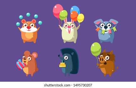 Funny Animal Characters Having Fun at Birthday Party Set, Cute Stickers with Baby Animals, Hamster, Rabbit, Dog, Bear, Hedgehog, Wild Boar Vector Illustration