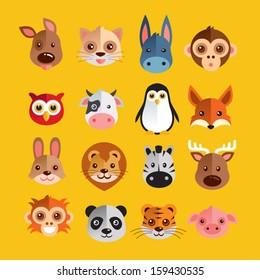 Funny Animal Heads Vector illustration