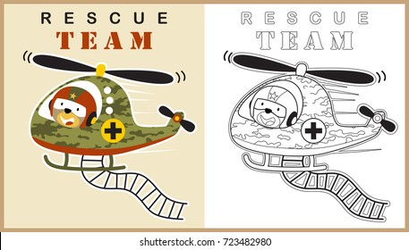 funny animal pilot on military helicopter, vector cartoon illustration, coloring book or page