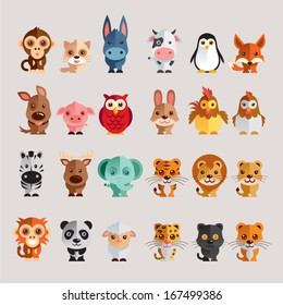 Funny Animal Vector illustration Icon Set