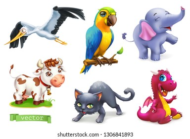 Funny animals. 3d vector icon set. Stork, parrot, elephant, cow, cat, dragon