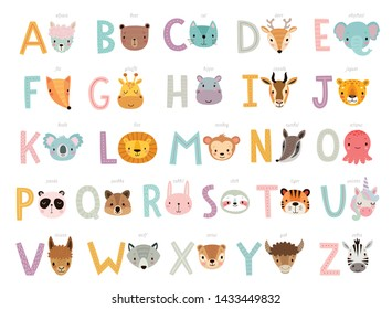 Funny Animals alphabet for kids  education. Cute hand drawn characters. Vector illustration.