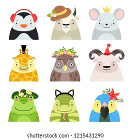 Funny animals and birds different hats set, penguin, cow, mouse, giraffe, owl, sheep, frog, snake, parrot, cute cartoon animal avatars vector Illustration on a white background