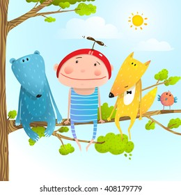 Funny animals and boy friends sitting on the tree, Baby kid and fox, bear funny friendship colorful cartoon, vector illustration
