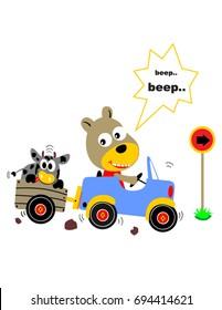 funny animals in the car, vector cartoon