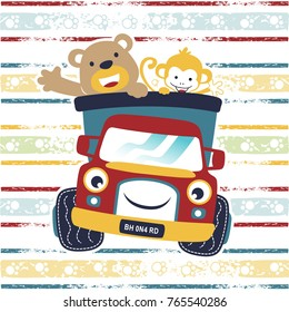 funny animals cartoon with funny truck on colorful striped background