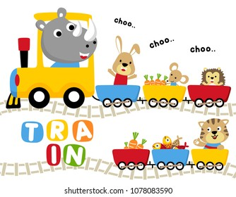 Funny animals cartoon vector with foods on colorful train