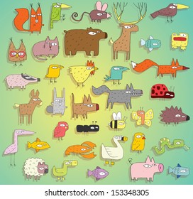 Funny Animals Collection in colours, with outlines and shadows, on gradient background. Elements are isolated in a group, shadows on separate layer, illustration in eps10 vector mode.