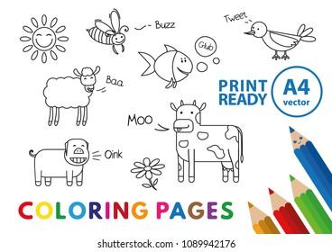Set Funny Savannah Animals Coloring Book Stock Vector Royalty Free