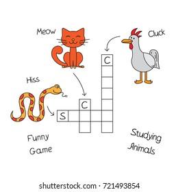 Funny animals crossword for kids. Vector design for children education