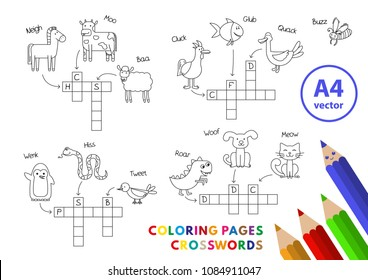 Funny animals crosswords set. Vector coloring book pages for children education