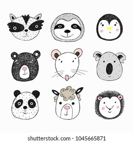 Funny animals face illustration isolated on white background. Cute vector illustration for card, print on clothes.