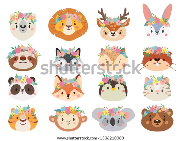 Funny animals in flower wreaths. Happy animal head with flower, fun cat and pet face in wreath. Pets and forest animals character face in flower crown stickers. Isolated vector icons set
