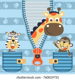 funny animals on striped background, giraffe come out from zipper, zebra with monkey in pocket. Vector cartoon. Eps 10