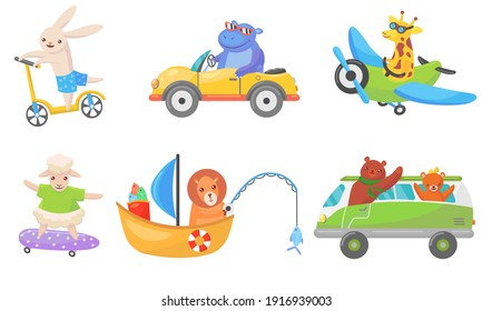 Funny animals on transport flat mascots set for web design. Cartoon cute driver characters on boat, car, and bike isolated vector illustration collection. Animals and transportation concept
