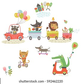 Funny animals ride. Animals on cars
