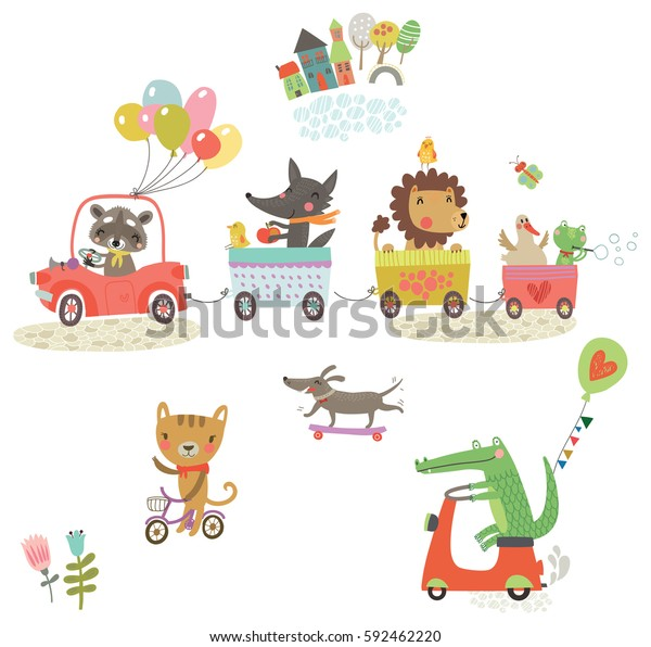 Funny animals ride. Animals on cars