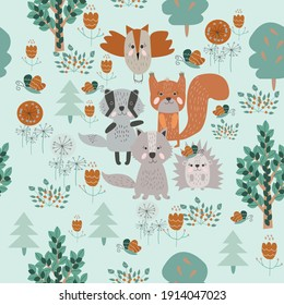 Funny animals seamless vector pattern with  wild animals in the forest. Perfect for cards, wallpaper invitations, party, banners, kindergarten, preschool and children room decoration