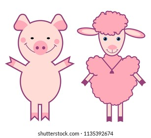 funny animals, sheep and pig cartoon