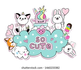 Funny animals in the style of kawaii cat unicorn, rabbit, fox, cloud, cake unicorn and the inscription is so cute. Birthday card concept on white background