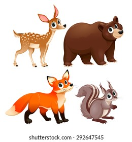Funny animals of the wood. Deer, brown bear, fox and squirrel. Vector cartoon isolated characters.
